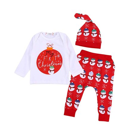 Baby Boy Christmas Romper My First Christmas Letter Long Sleeve T-shirt Top+Snowman Pattern Pants and Hat Clothes Outfit Set - Good Christmas Outfits