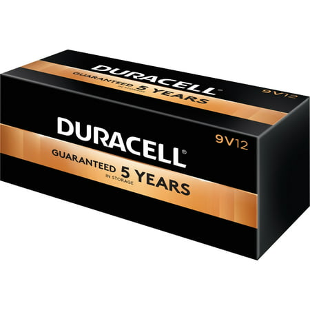 Duracell, DUR01601, Coppertop Alkaline 9V Battery - MN1604, 12 / Box, Black Detector 9v Battery