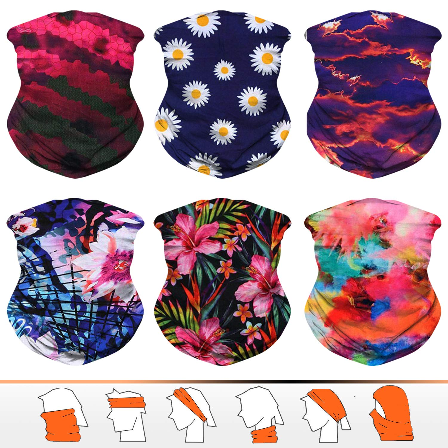 Neck Gaiters Bandana Face Mask Pack of 2 Headwraps Headscarf Outdoor Multifunctional Seamless Headwear