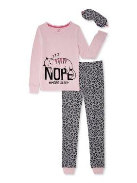 Cozy Jams Girls 2-Piece Tight Fit Pajama Set with Sleep Mask Sizes 4-14