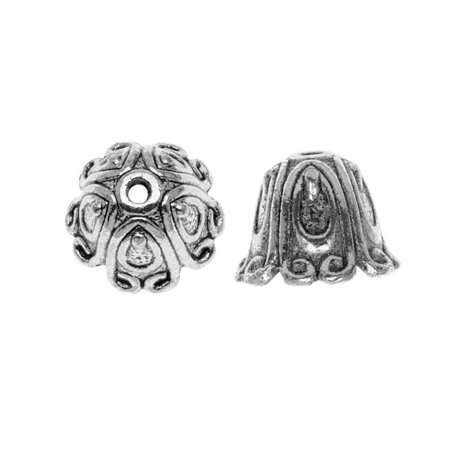 Design Bali Bead - Lead-Free Pewter Bead Caps & Cones, Bali Design 14mm, 2 Pieces, Antiqued Silver