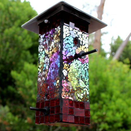 Rainbow Stained Glass Mosaic Bird Feeder, 2-Pack - Feathered Friends Glass Feeder