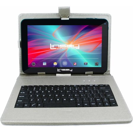 "LINSAY 10.1"" New Tablet Quad Core 16 GB Android 6.0 Bundle Deluxe with Silver Keyboard 1024 x 600 HD"
