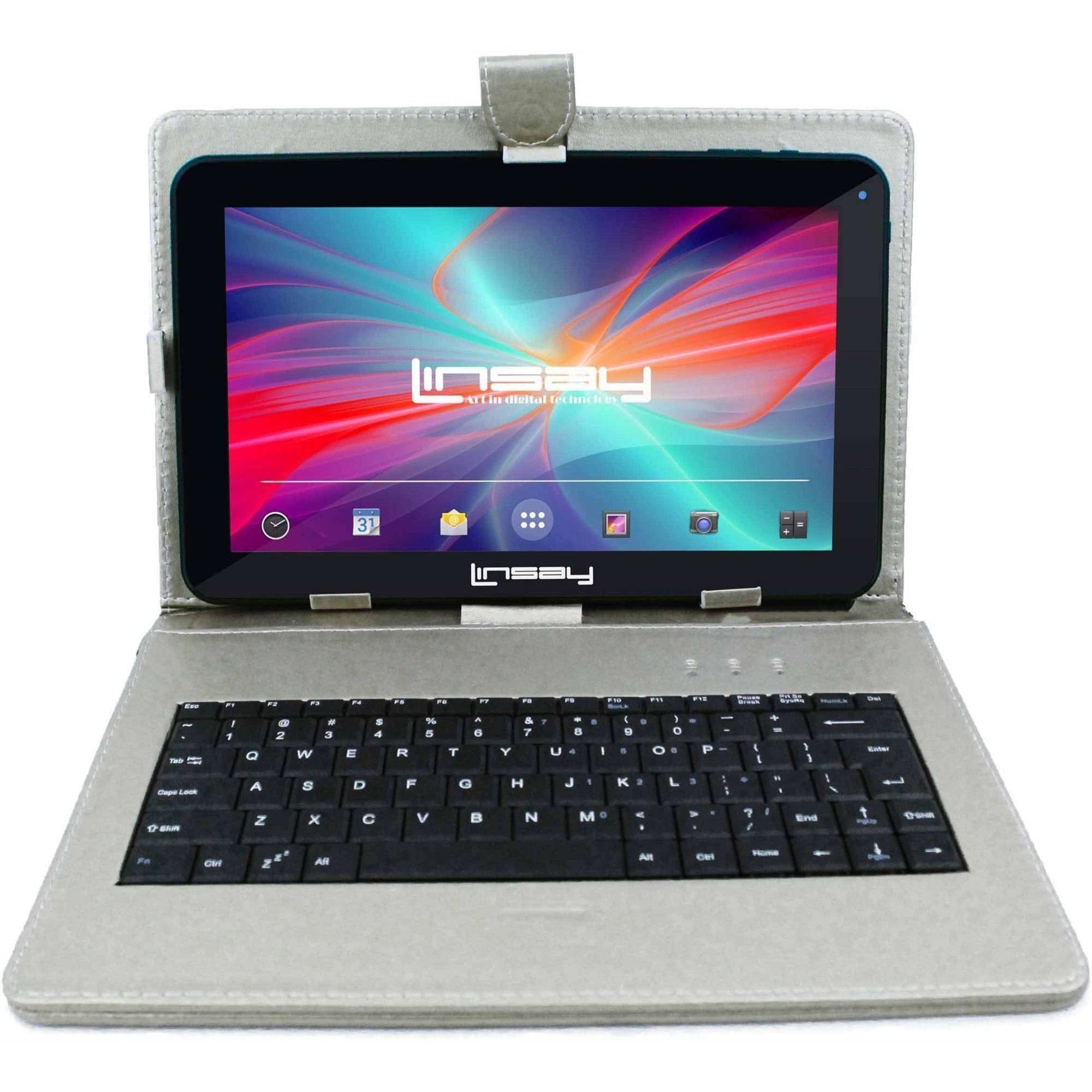 "LINSAY 10.1"" Touchscreen Quad Core Tablet PC Featuring Android 4.4 (KitKat) Operating System Bundle with Silver Keyboard"
