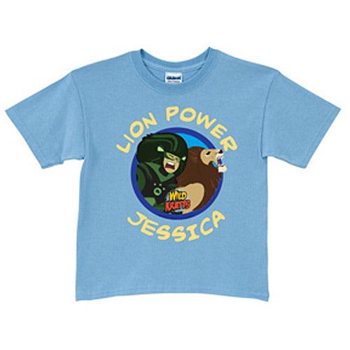 Personalized Wild Kratts Lion Power Light Blue Boys' T-Shirt