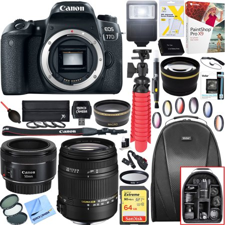 Canon 1892C001 EOS 77D 24.2 MP CMOS (APS-C) Digital SLR Camera with Wi-Fi & Bluetooth (Body) + 18-250mm F3.5-6.3 DC OS HSM Macro + EF 50mm f/1.8 STM Prime Lens + 64GB Deluxe