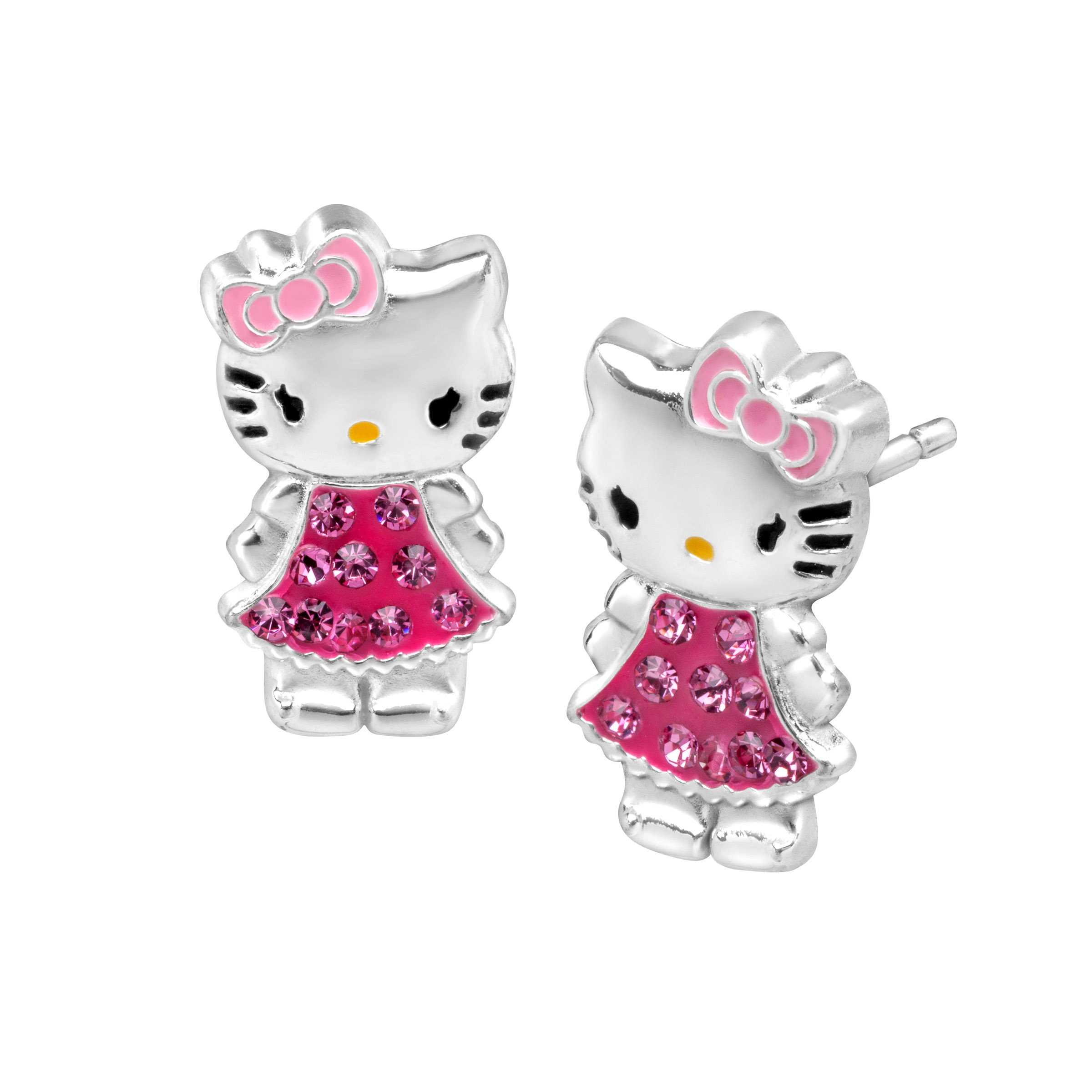 Hello Kitty Stud Earrings with Swarovski Crystal in Sterling ...