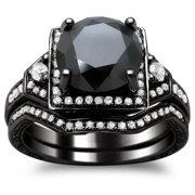 Noori Collection Noori 14k Black Gold 3ct TDW Certified Black and White Round Diamond Bridal Set