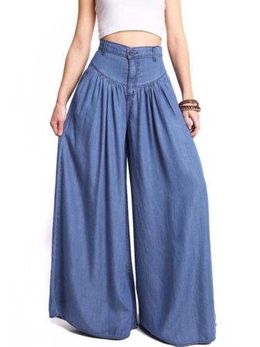 Womens Palazzo Wide Legs Long Pants Yoga High Waist Loose Gypsy Boho Trousers