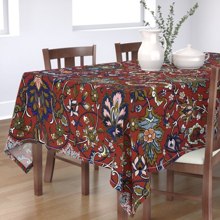 Tablecloth Damask Ottoman Turkish Persian Victorian Red Cotton Sateen