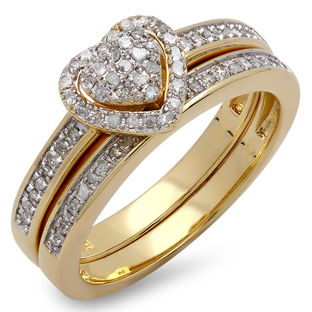 0.23 Carat (ctw) 14K Gold Round White Diamond Ladies Heart Shaped Bridal Engagement Ring Set 1 4 CT by DazzlingRock