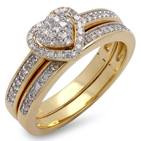 Dazzlingrock Collection 0.23 Carat (ctw) 14K Round Diamond Heart Shaped Engagement Ring Set 1/4 CT, Yellow Gold, Size