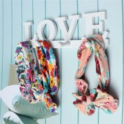 4 Hook LOVE Pattern Wooden Hanger Rack Door Wall Mounted Clothes Bag Key Hat Hanging Holder For Bathroom Bedroom Home Decoration