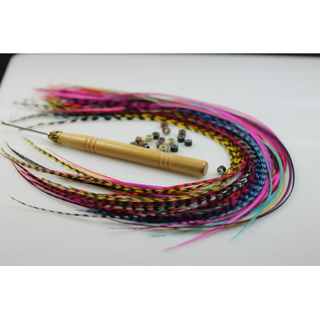 Sexy Sparkles Feather Hair Extensions, 100% Real Rooster Feathers, Long Rainbow Colors, 20 Feathers with Beads and Loop Tool Kit ()