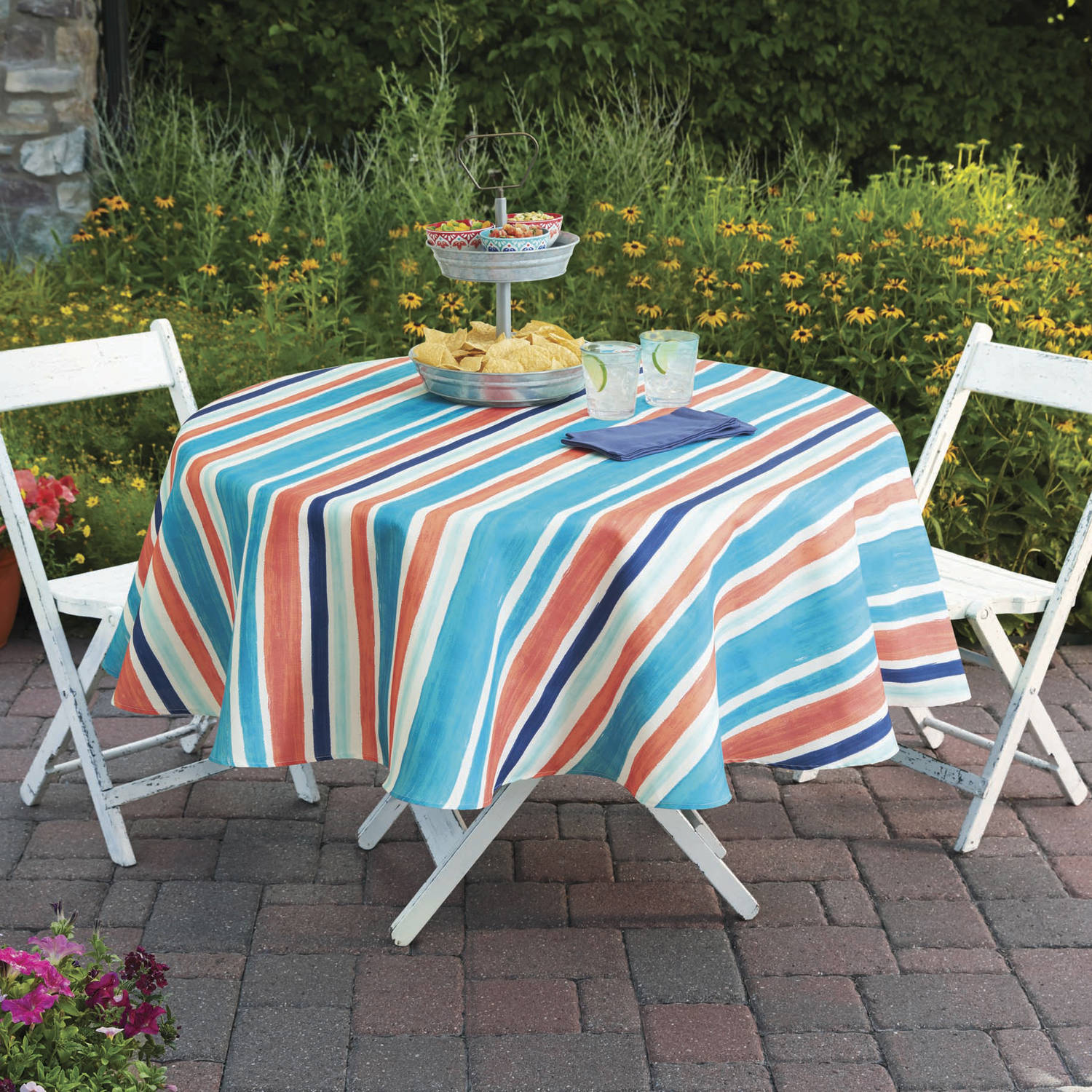 "Better Homes and Gardens Multi-Stripe Tablecloth, 70"" Round"