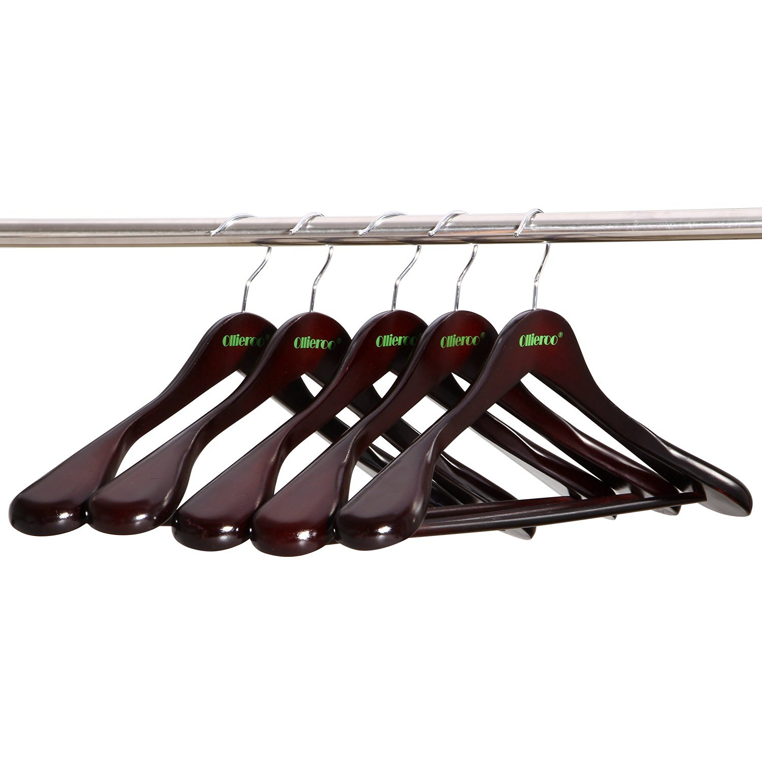 Ollieroo 5 PK Solid Gugertree Wooden Clothes Hanger Extra-Wide Shoulder Suit Hangers with Polished Chrome Hook Walnut Finish