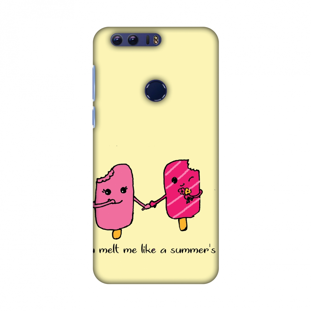 Huawei Honor 8 Case - Ice Bar Couple- Yellow, Hard Plastic Back Cover, Slim Profile Cute Printed Designer Snap on Case with Screen Cleaning Kit