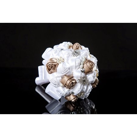 Silk Roses Wedding Bouquet, White Bridesmaid Hand Bouquet Bridal Toss Bouquet With Crystals And Soft Ribbons Party And Church