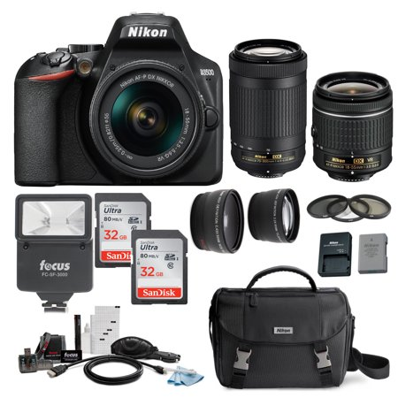 Nikon D3500 DSLR Camera with 18-55 and 70-300mm AF-P DX Lenses and 64GB Bundle