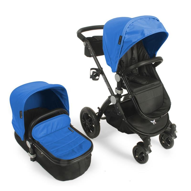 Babyroues letour avant luxe stroller w/bassinet black frame blue leatherette