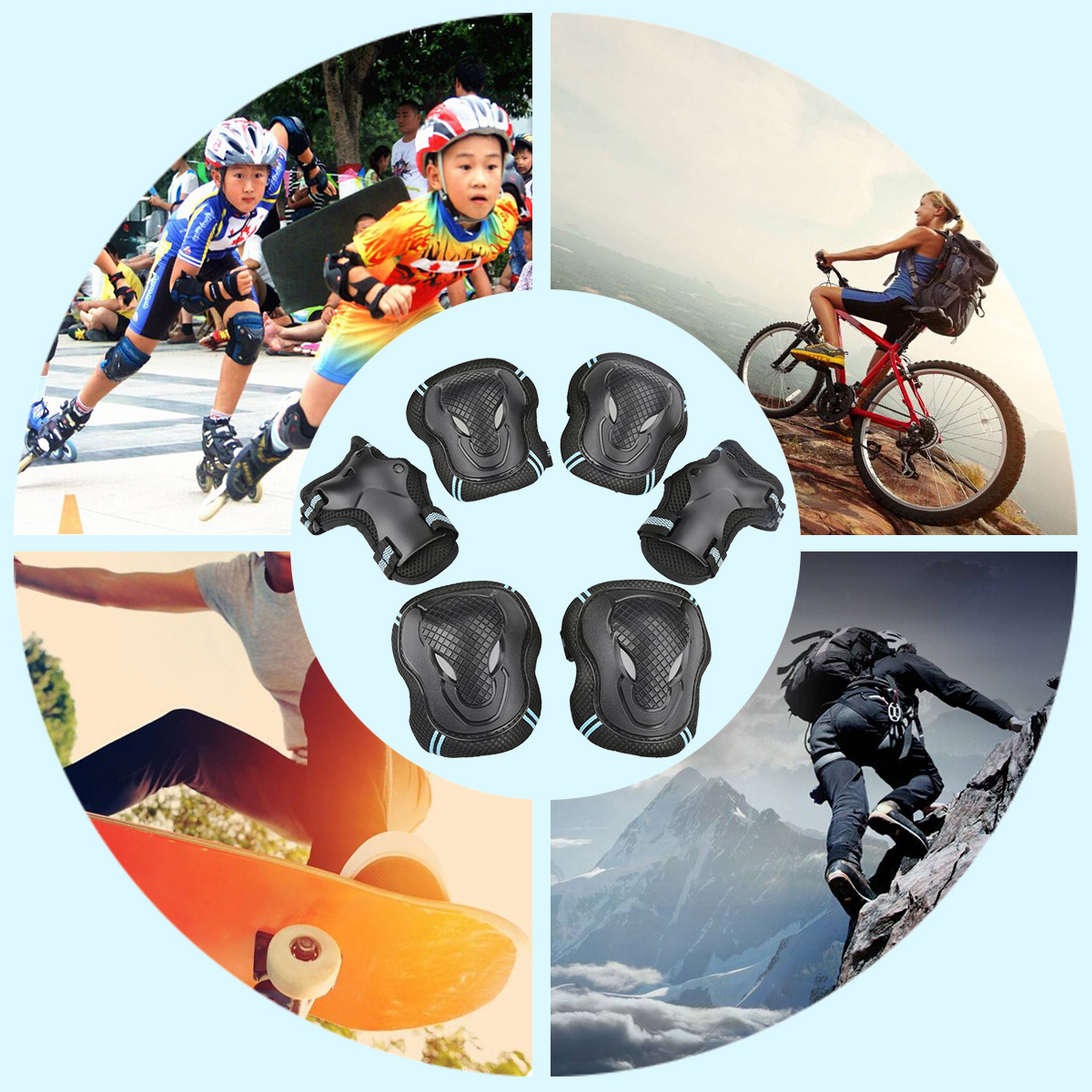 USCoco 6pcs Protector Guard Pad Gear Knee Elbow Wrist Protective Pads Sets for Skating Skateboard Cycling Biking Riding by USCOCO