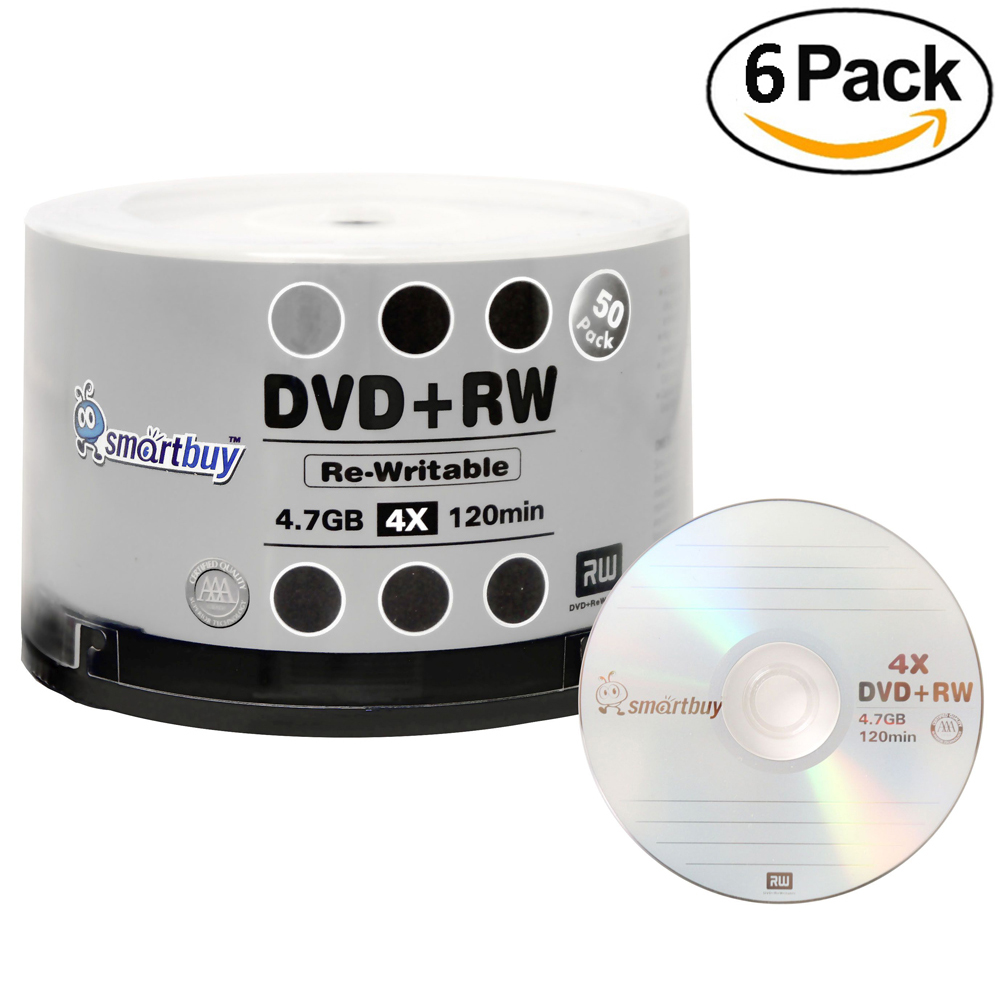 300 Pack Smartbuy Blank DVD+RW 4x 4.7GB 120Min Branded Logo Rewritable DVD Media Disc