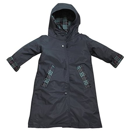 FIT RITE Girls Hooded Waterproof Long Raincoat with Reflective Stripes (18/20, Navy)