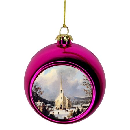 Artist George Henrie Durrie's Going to Church Painting Bauble Christmas Ornaments Pink Bauble Tree Xmas Balls - Painting Christmas Ornaments