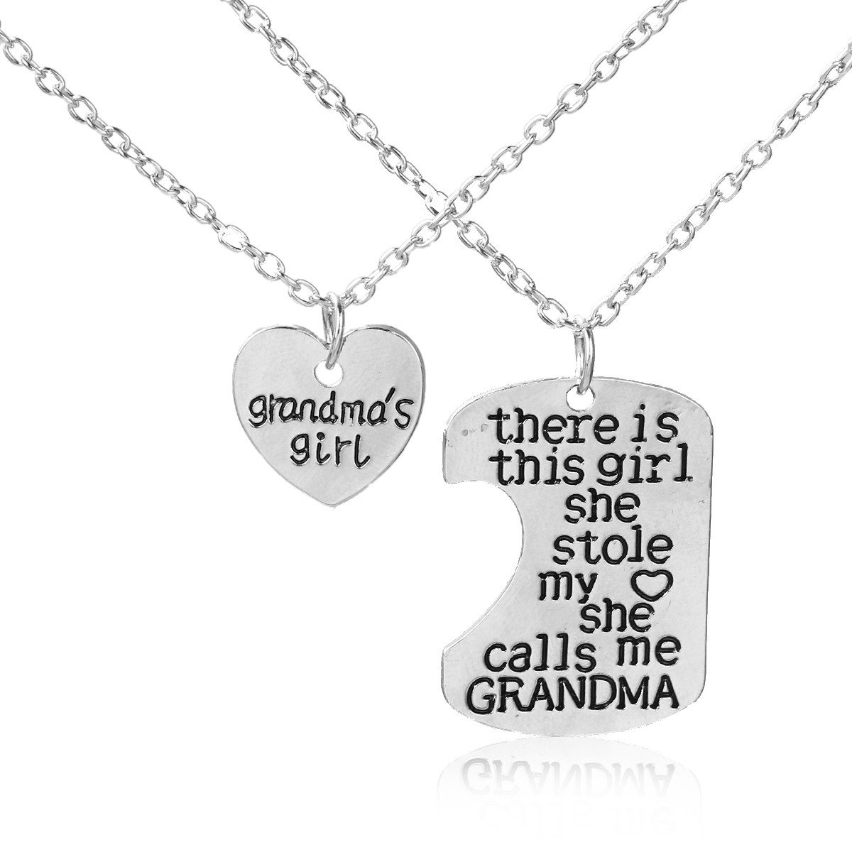"SEXY SPARKLES 2 piece necklace "" Grandma's Girl ""and ""There is this girl she stole my heart she calls me Grandma"" 2 Pc Jewelry Necklace"