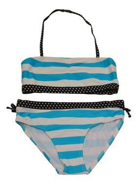 9498d1c3b67ef Product Image Starfish Big Girls Blue White Stripe Print Bandeau 2 Pc  Bikini Swimsuit
