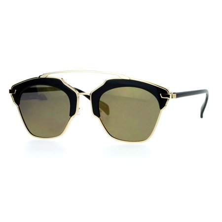 SA106 Metal Outline Mirrored Mirror Lens Retro Vintage Half Rim Sunglasses All (Cheap Womens Sunglasses Online)