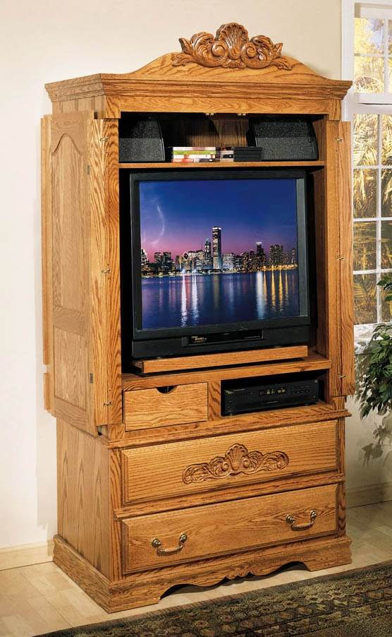 TV Armoire W Wrap Around Doors And Carving Detail