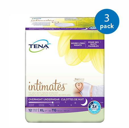Tena Incontinence Underwear For Women, For Overnight, Xlarge, 36 Ct (3 Packs of 12)