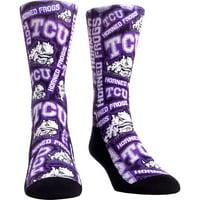TCU Horned Frogs Rock Em Socks Youth Logo Sketch Crew Socks