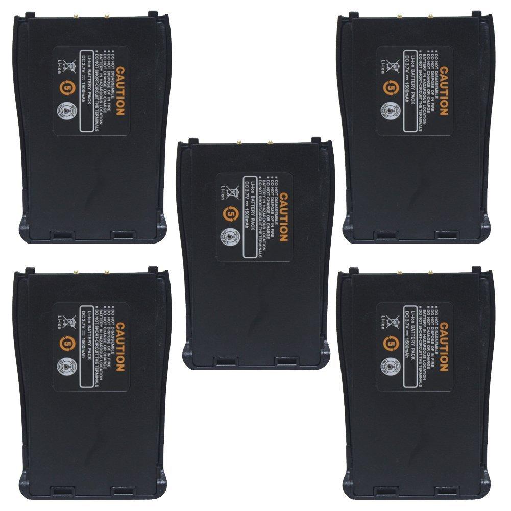 AOER 1500mah Li_ion Battery for Baofeng 777s_888s_666s H777 Two Way Radio Walkie Talkie_5 Pack_