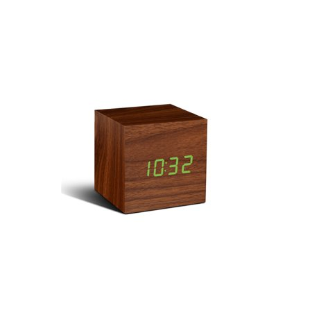 Gingko Walnut Cube Click Clock - Time, Date, Temperature Display - Clap, Touch, Clicked Fingers Response Soft LED Display Portable Alarm Clock - GK08R8