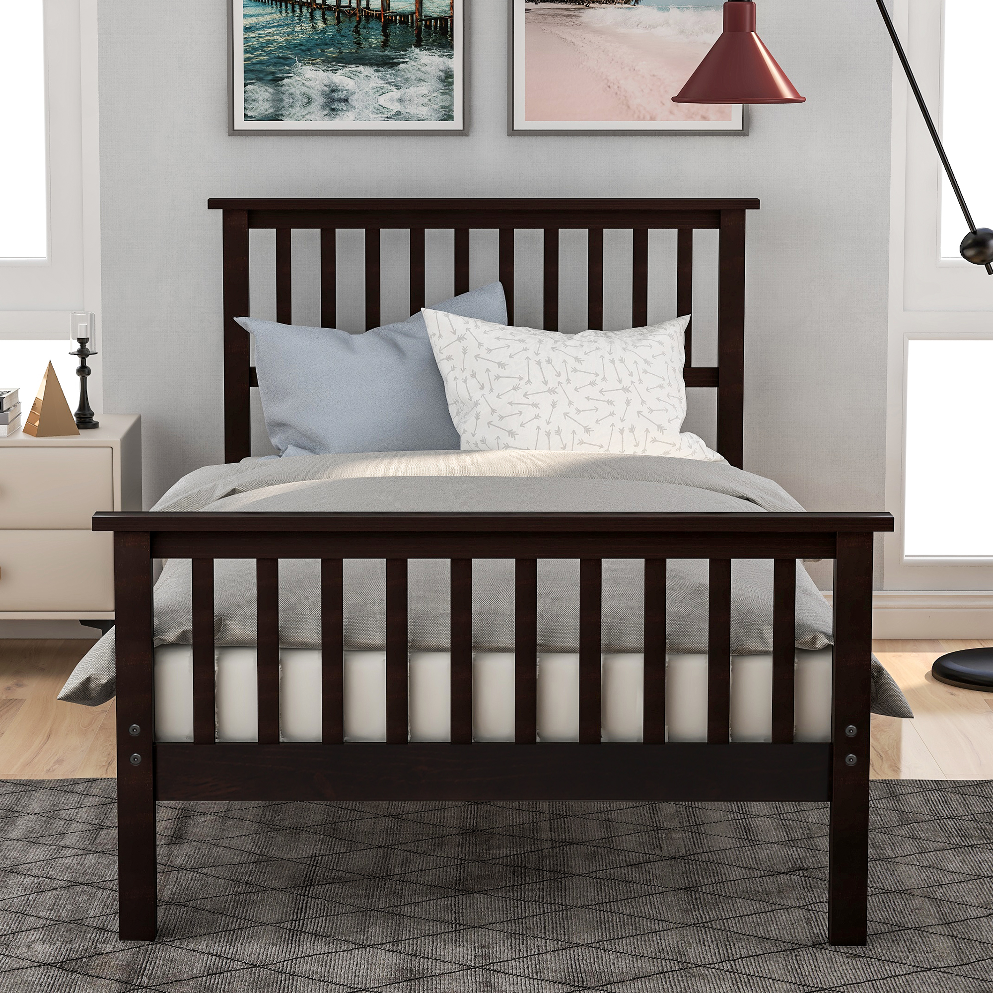Twin Bed Frames for Kids, URHOMEPRO Heavy Duty Wood Twin Platform