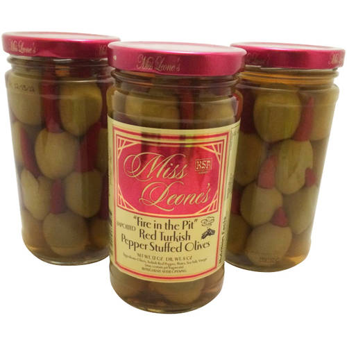 Miss Leone's Fire in the Pit Red Turkish Pepper Stuffed Olives, 12 oz, 3 count