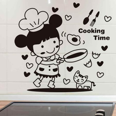 babydream1 Cartoon Little Girl Cooking Wall Decals Restaurant Kitchen PVC Waterproof Sticker Home Shop Removable Wallpaper - image 9 de 9