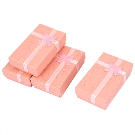 4Pcs Bowtie Embellished Gift Cases Present Boxes Earrings Holder - Pink Gift Box
