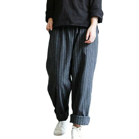 Womens Striped Elastic Waist Pockets Loose Harem Long Pants](Arabian Harem)