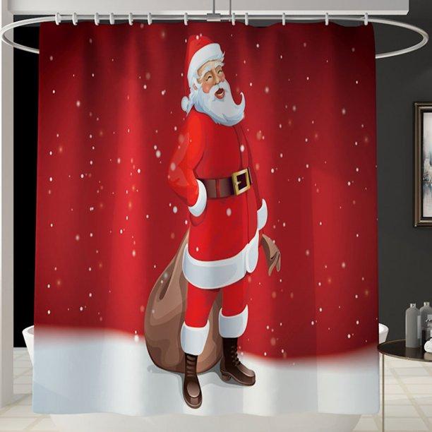 Merry Christmas Santa Claus Shower Curtain Bathroom Curtain Bath Xmas Walmart Com Walmart Com