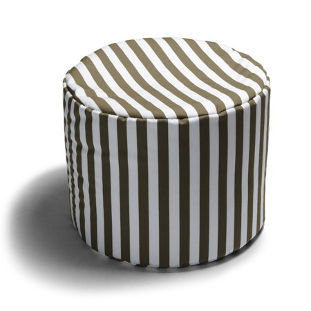 Jaxx Spring Outdoor Pouf Ottoman Taupe Stripes Walmart Enchanting Outdoor Pouf Footstool