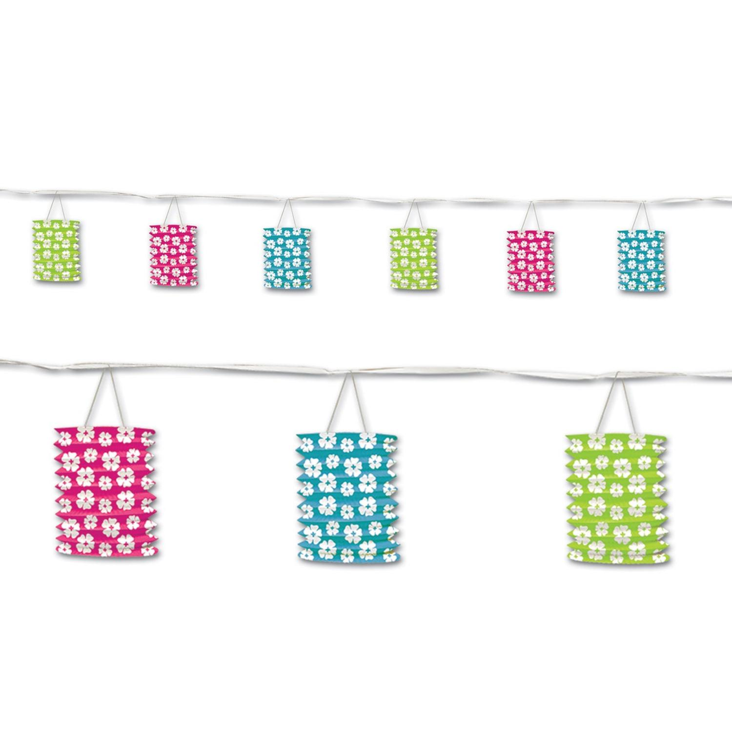 Pack of 6 Cheery Luau Hibiscus Floral Lantern Garland Hanging Decorations 12'