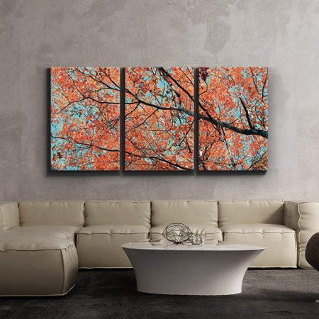 3 Piece Canvas Print - Contemporary Art, Modern Wall Decor - Orange leaves on tree branches - Giclee Artwork - Gallery Wrapped Wood Stretcher Bars - Ready to Hang- Wall26 - 24