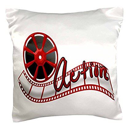 3dRose Cinema Movie Reel And The Word Action In Red and White, Pillow Case, 16 by 16-inch