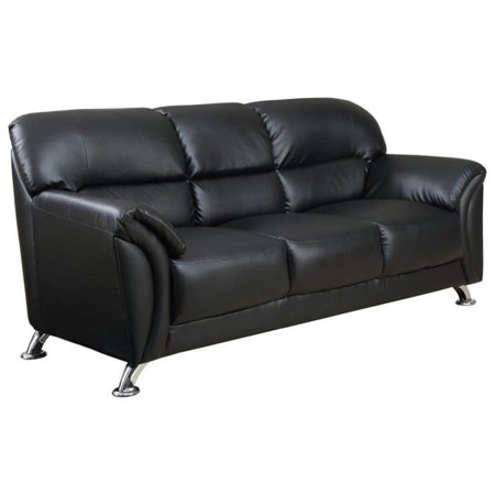 Kingfisher Lane PVC Faux Leather Sofa in Black Chrome Legs