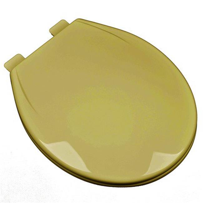 Plumbing Technologies 2F1R6-53 Slow Close Plastic Round Front Contemporary Design Toilet Seat, Harvest Gold