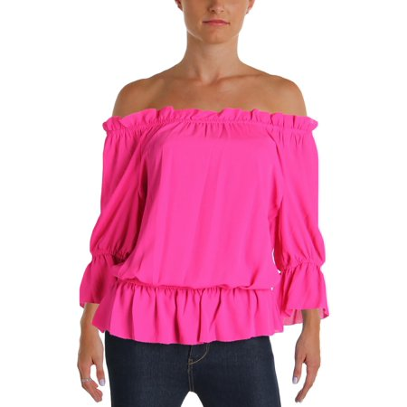 Lauren Ralph Lauren Womens Georgette Gathered Casual Top Pink L