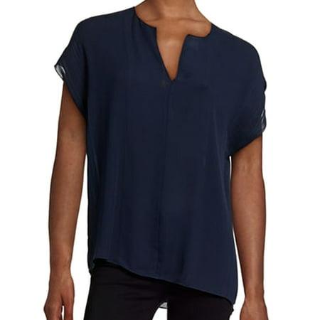 30f194decc7865 Vince. NEW Blue Navy Women s Size Medium M Split-Neck Blouse Silk -  Walmart.com